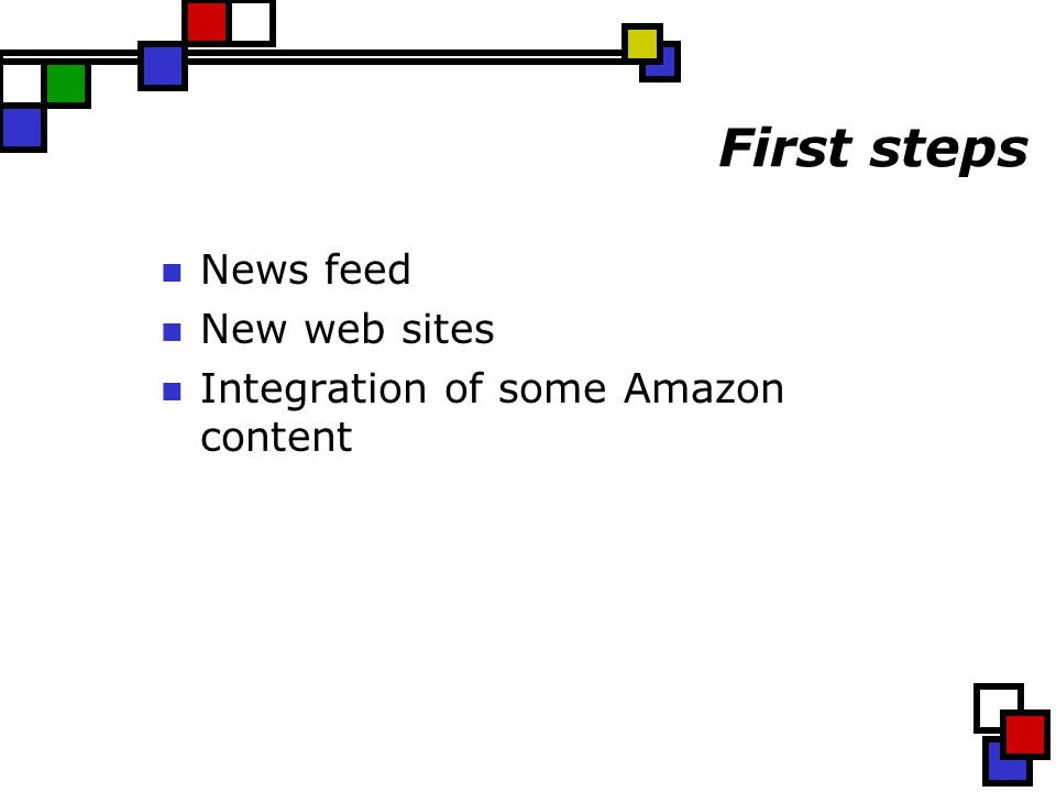 First steps News feed New web sites Integration of some Amazon content