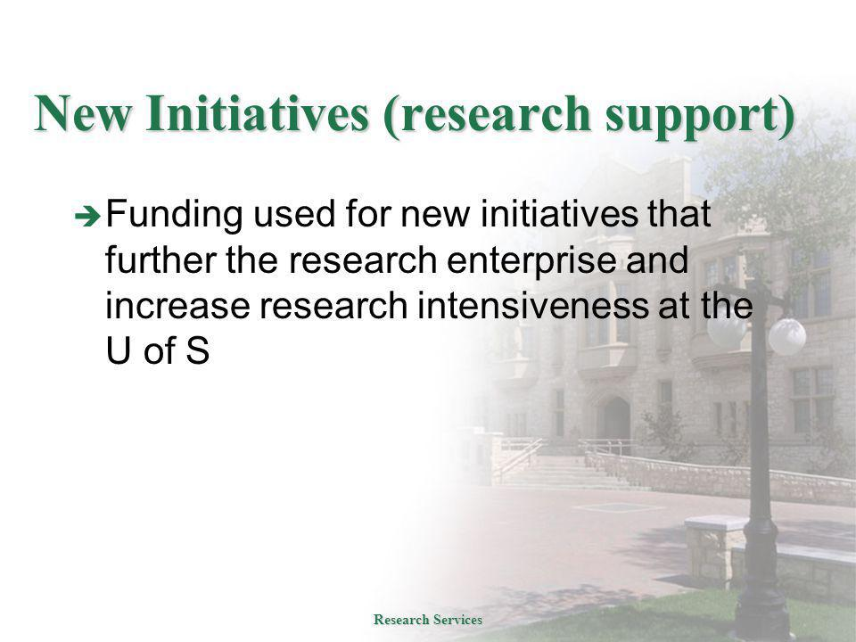 New Initiatives (research support)  Funding used for new initiatives that further the research enterprise and increase research intensiveness at the U of S Research Services