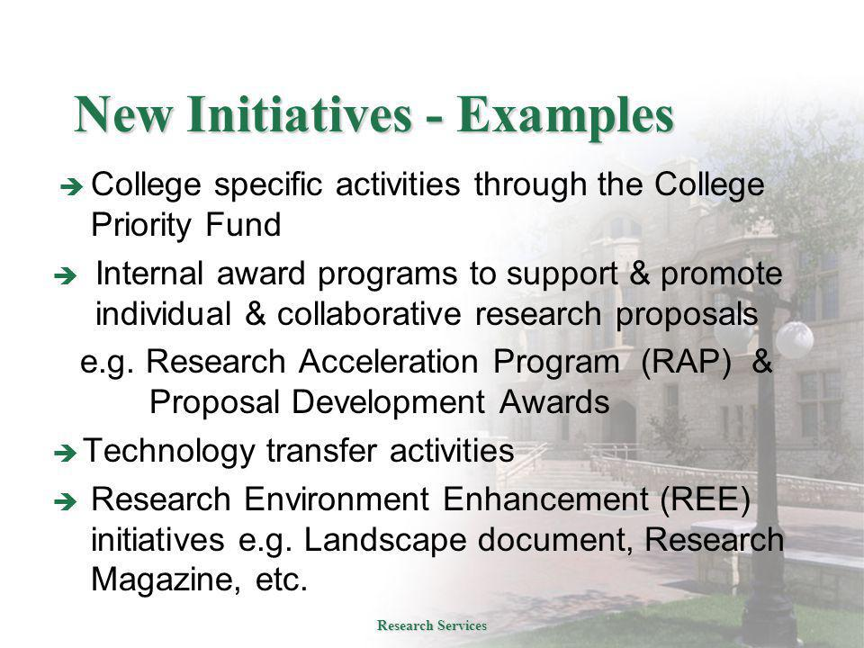 New Initiatives - Examples  College specific activities through the College Priority Fund  Internal award programs to support & promote individual & collaborative research proposals e.g.