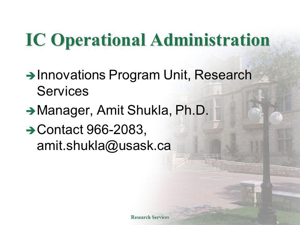 IC Operational Administration  Innovations Program Unit, Research Services  Manager, Amit Shukla, Ph.D.