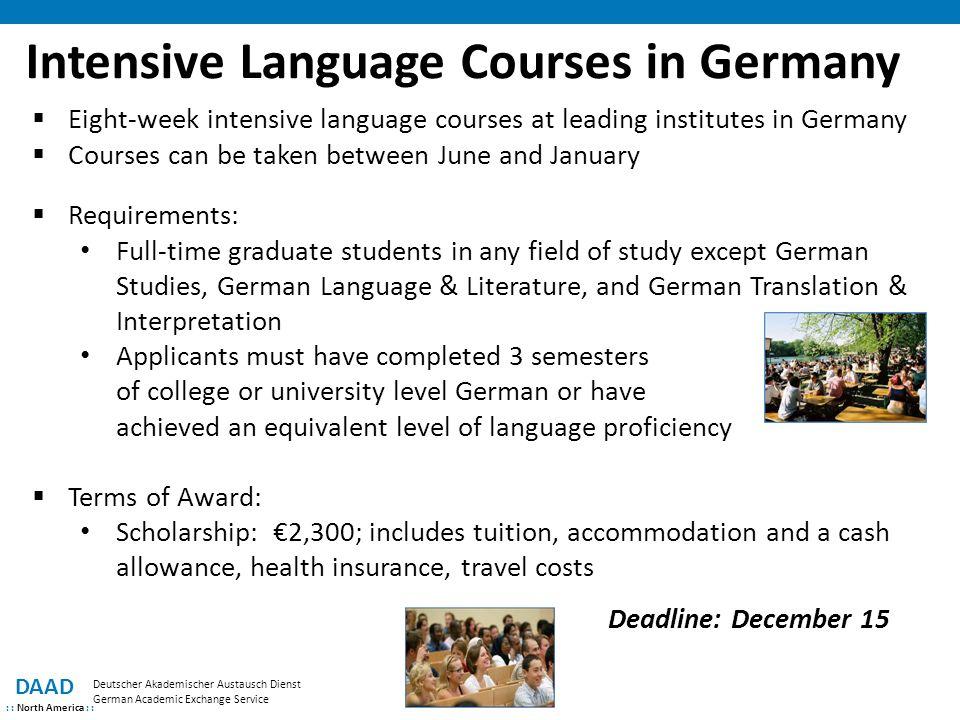 DAAD : : North America : : Deutscher Akademischer Austausch Dienst German Academic Exchange Service Intensive Language Courses in Germany  Eight-week