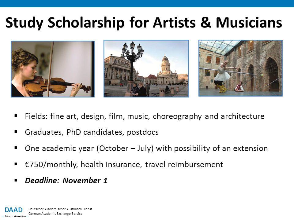 Study Scholarship for Artists & Musicians DAAD : : North America : : Deutscher Akademischer Austausch Dienst German Academic Exchange Service  Fields