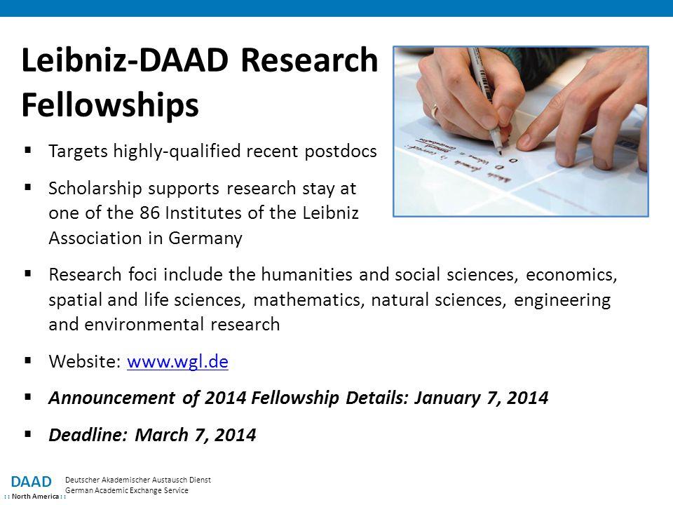 Leibniz-DAAD Research Fellowships DAAD : : North America : : Deutscher Akademischer Austausch Dienst German Academic Exchange Service  Targets highly