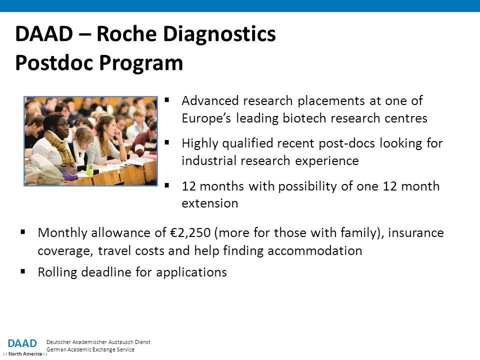 DAAD – Roche Diagnostics Postdoc Program DAAD : : North America : : Deutscher Akademischer Austausch Dienst German Academic Exchange Service  Advance