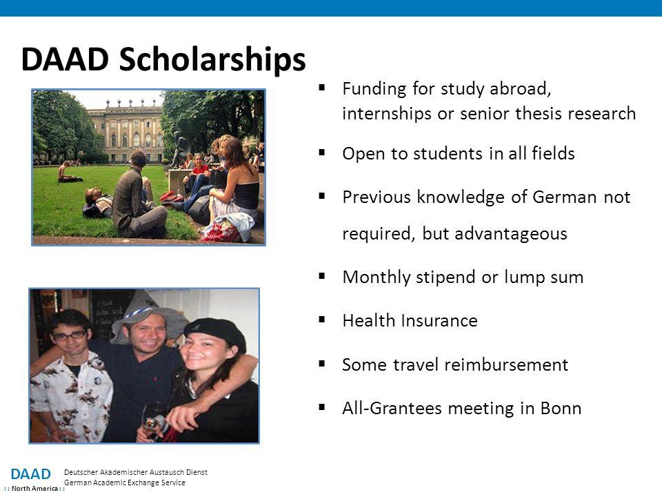 DAAD Scholarships DAAD : : North America : : Deutscher Akademischer Austausch Dienst German Academic Exchange Service  Funding for study abroad, inte