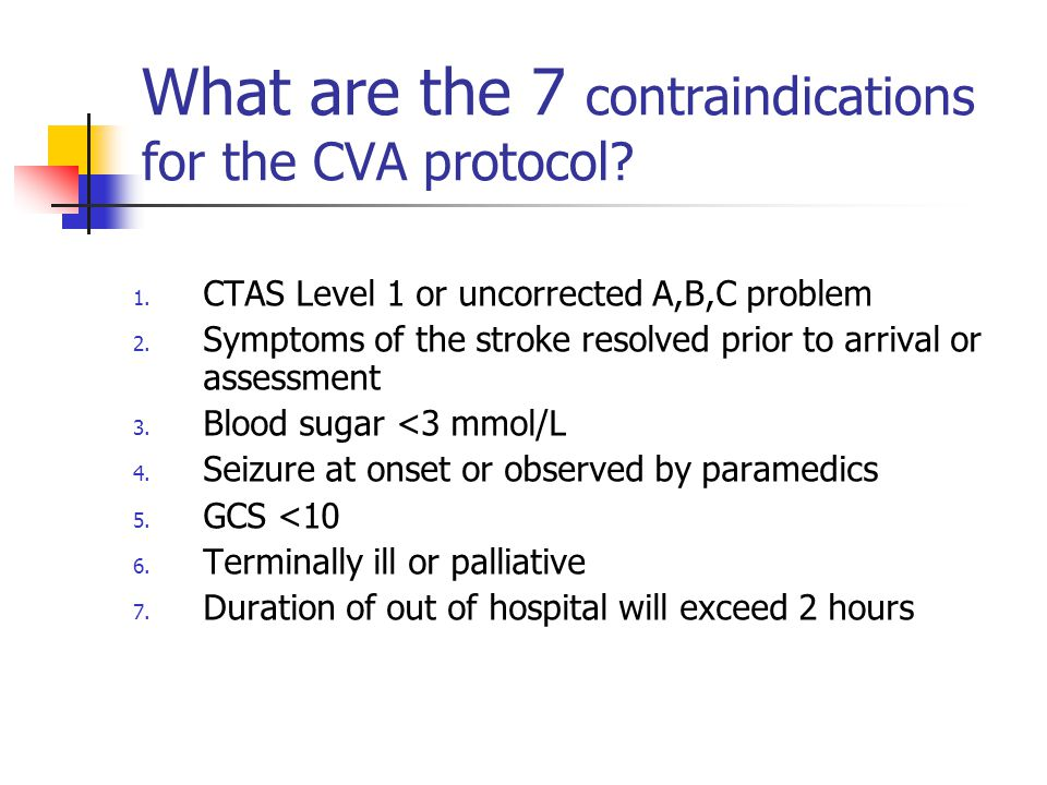 What are the 7 contraindications for the CVA protocol.