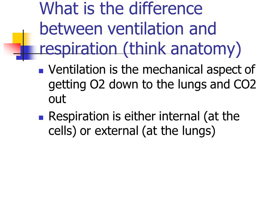 What is the difference between ventilation and respiration (think anatomy) Ventilation is the mechanical aspect of getting O2 down to the lungs and CO