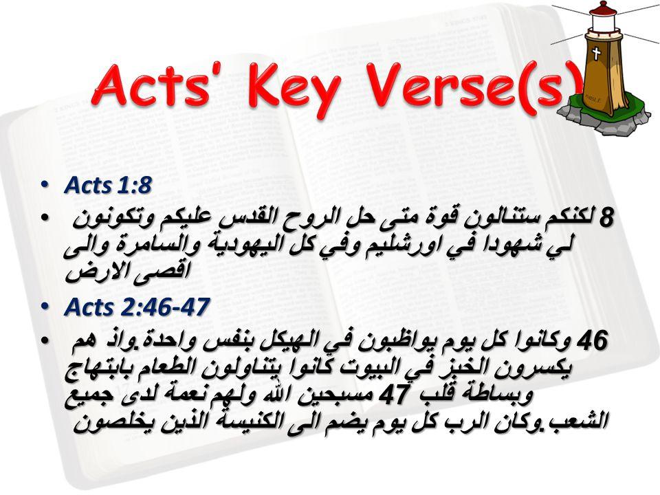 Acts 1:8 Acts 1:8 8 لكنكم ستنالون قوة متى حل الروح القدس عليكم وتكونون لي شهودا في اورشليم وفي كل اليهودية والسامرة والى اقصى الارض 8 لكنكم ستنالون قوة متى حل الروح القدس عليكم وتكونون لي شهودا في اورشليم وفي كل اليهودية والسامرة والى اقصى الارض Acts 2:46-47 Acts 2:46-47 46 وكانوا كل يوم يواظبون في الهيكل بنفس واحدة.