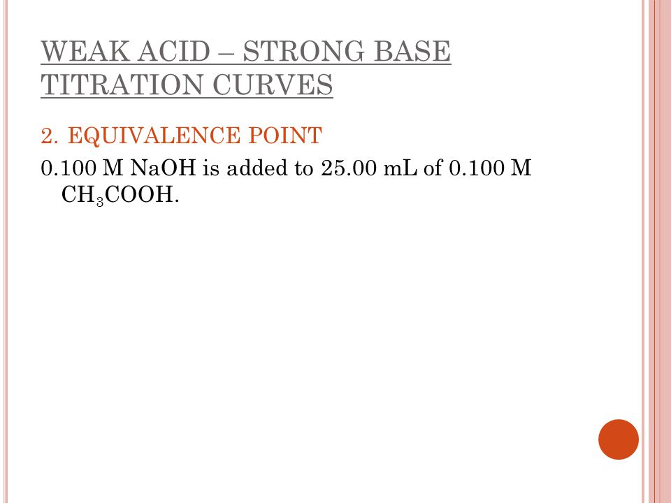 WEAK ACID – STRONG BASE TITRATION CURVES 2. EQUIVALENCE POINT 0.100 M NaOH is added to 25.00 mL of 0.100 M CH 3 COOH.