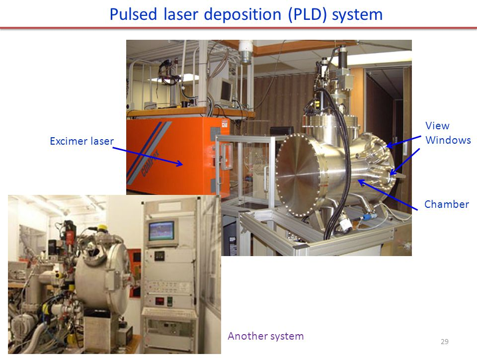 Excimer laser Chamber View Windows Pulsed laser deposition (PLD) system 29 Another system