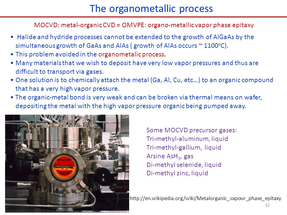 The organometallic process 42 Halide and hydride processes cannot be extended to the growth of AlGaAs by the simultaneous growth of GaAs and AlAs ( growth of AlAs occurs ~ 1100 o C).