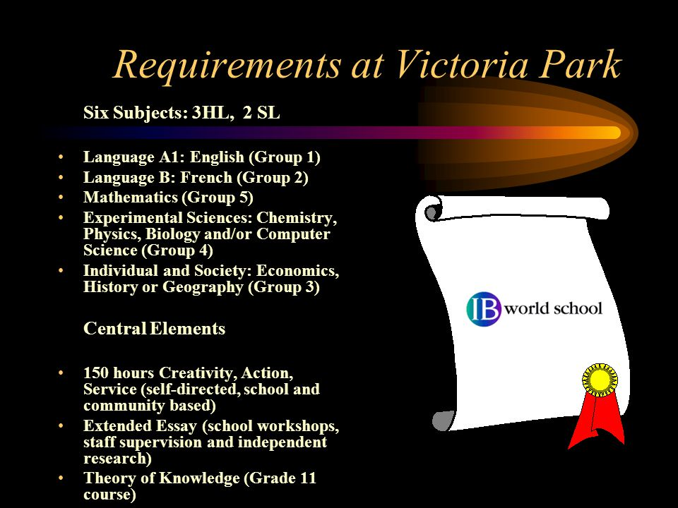 Requirements at Victoria Park Six Subjects: 3HL, 2 SL Language A1: English (Group 1) Language B: French (Group 2) Mathematics (Group 5) Experimental Sciences: Chemistry, Physics, Biology and/or Computer Science (Group 4) Individual and Society: Economics, History or Geography (Group 3) Central Elements 150 hours Creativity, Action, Service (self-directed, school and community based) Extended Essay (school workshops, staff supervision and independent research) Theory of Knowledge (Grade 11 course)