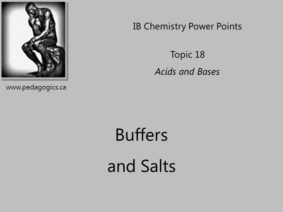 Buffer Solutions DEFINITION: A buffer solution contains a weak acid mixed with its conjugate base (or weak base and conjugate acid) Buffers resist changes in pH when a small amount of a strong acid or base is added to it.
