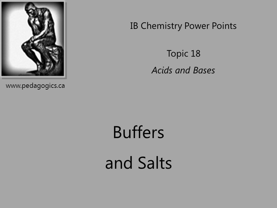 Buffers and Salts IB Chemistry Power Points Topic 18 Acids and Bases www.pedagogics.ca