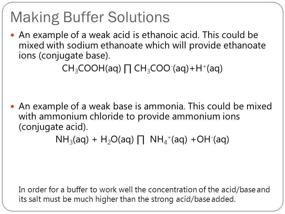 Making Buffer Solutions An example of a weak acid is ethanoic acid. This could be mixed with sodium ethanoate which will provide ethanoate ions (conju
