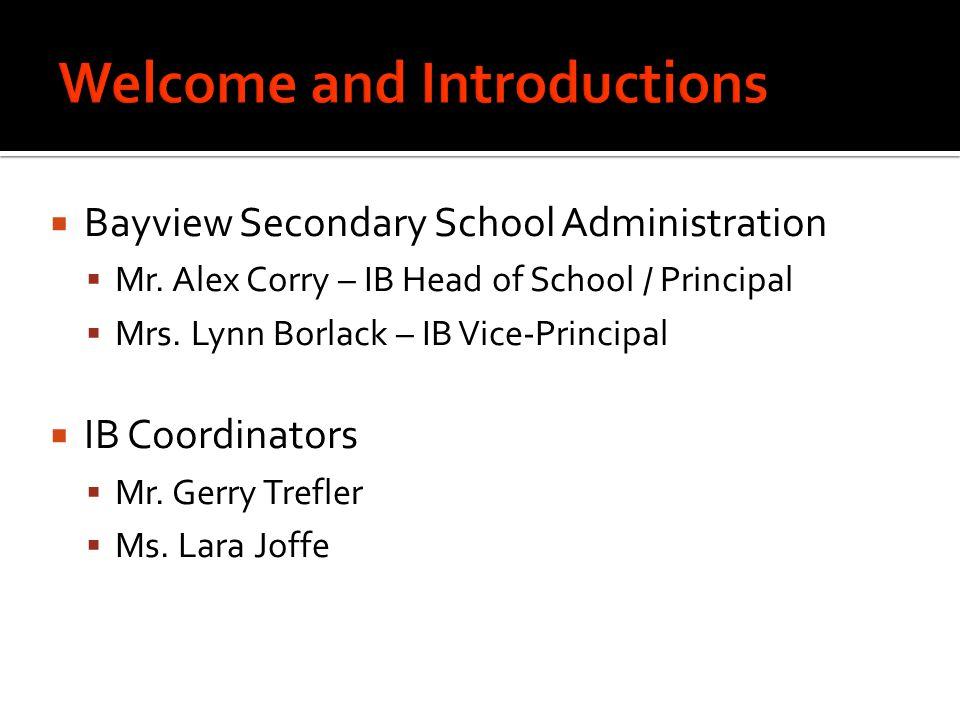 Bayview Secondary School 905-884-4453 Lara Joffe lara.joffe@yrdsb.edu.on.ca Ext.