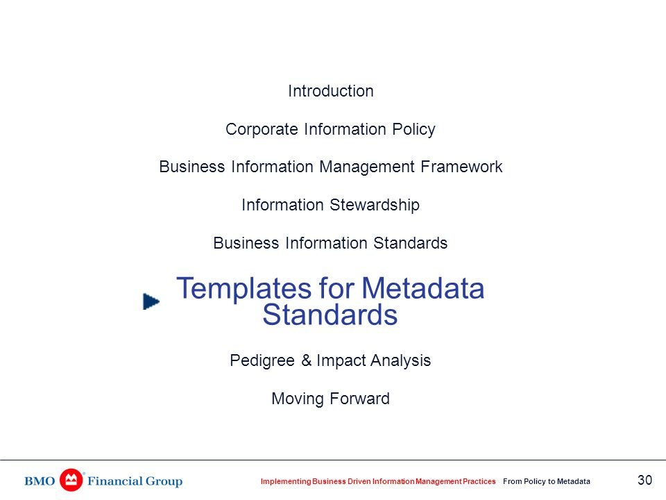 Implementing Business Driven Information Management Practices From Policy to Metadata 30 Introduction Corporate Information Policy Business Informatio