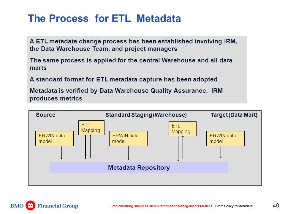 Implementing Business Driven Information Management Practices From Policy to Metadata 40 The Process for ETL Metadata A ETL metadata change process ha