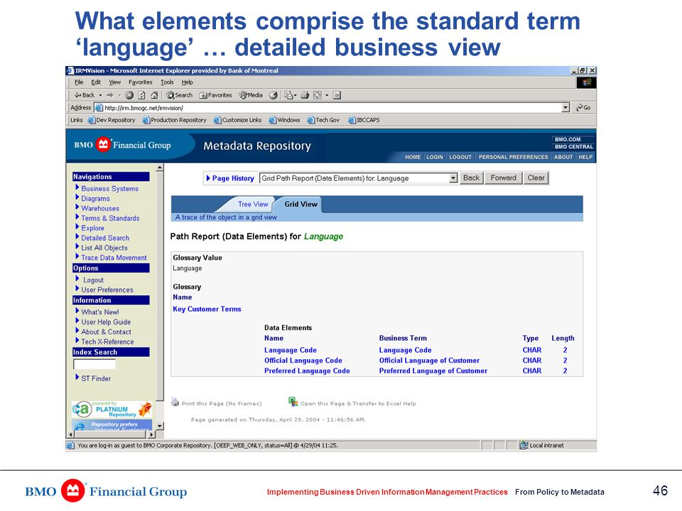 Implementing Business Driven Information Management Practices From Policy to Metadata 46 What elements comprise the standard term 'language' … detaile