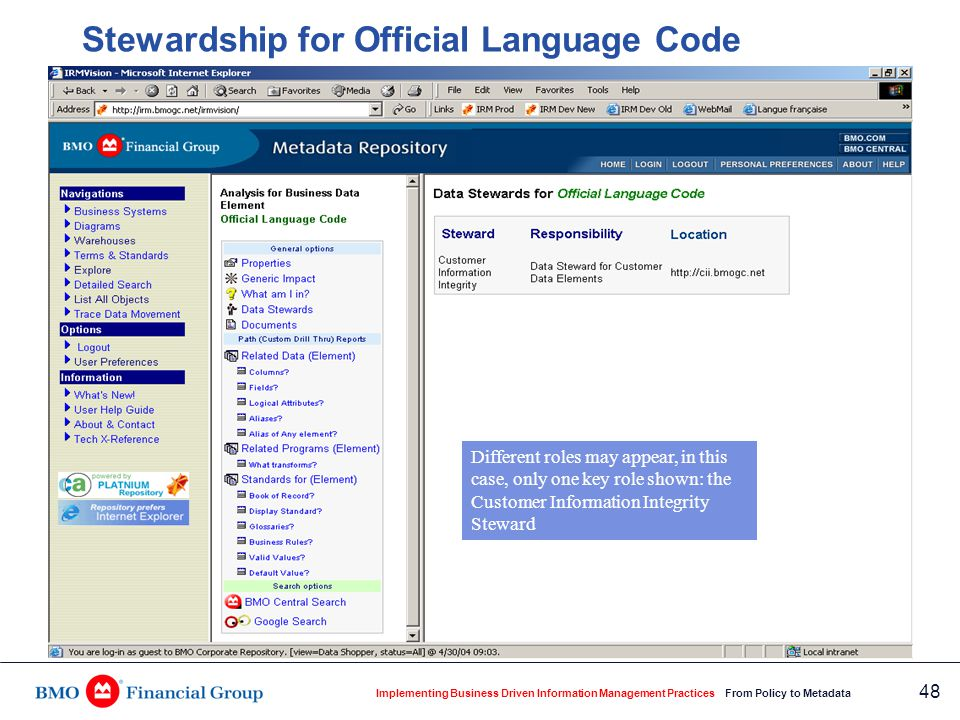 Implementing Business Driven Information Management Practices From Policy to Metadata 48 Stewardship for Official Language Code Different roles may ap