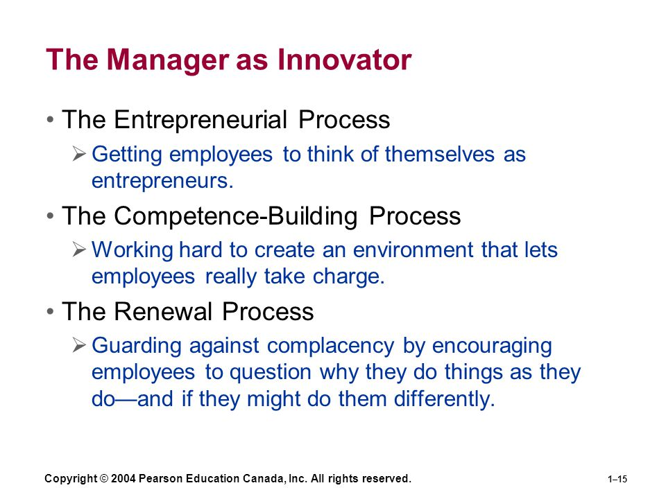 Copyright © 2004 Pearson Education Canada, Inc. All rights reserved. 1–15 The Manager as Innovator The Entrepreneurial Process  Getting employees to