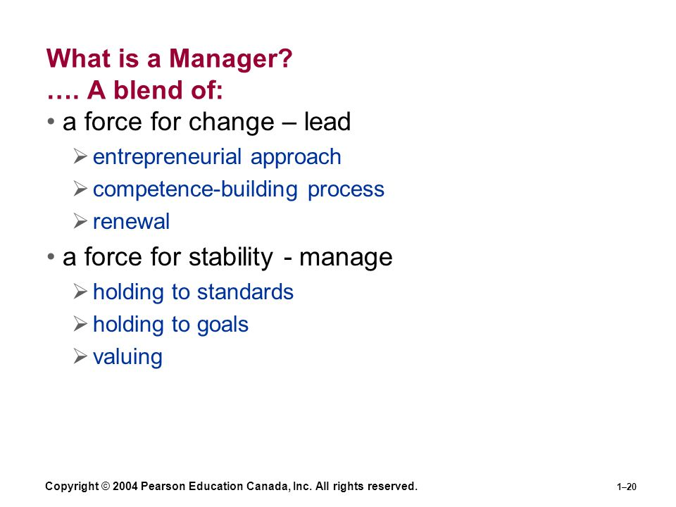 Copyright © 2004 Pearson Education Canada, Inc. All rights reserved. 1–20 What is a Manager? …. A blend of: a force for change – lead  entrepreneuria