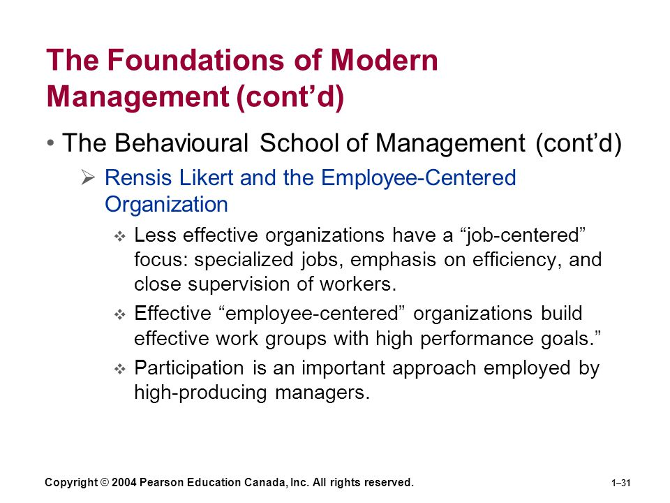 Copyright © 2004 Pearson Education Canada, Inc. All rights reserved. 1–31 The Foundations of Modern Management (cont'd) The Behavioural School of Mana