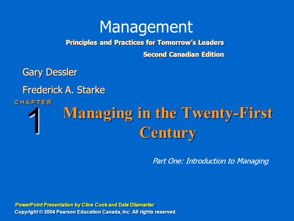 PowerPoint Presentation by Clive Cook and Dale Dilamarter Gary Dessler Frederick A. Starke Gary Dessler Frederick A. Starke Principles and Practices f