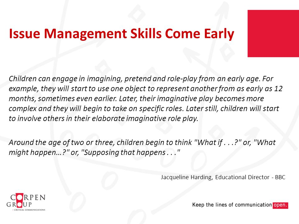 Children can engage in imagining, pretend and role-play from an early age.
