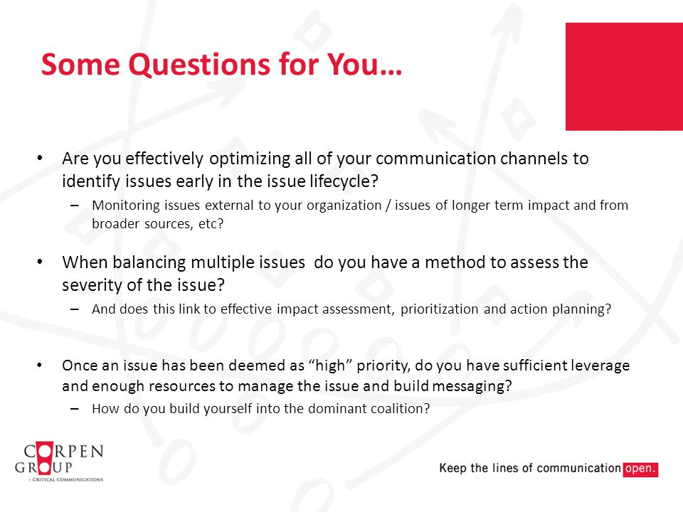 Some Questions for You… Are you effectively optimizing all of your communication channels to identify issues early in the issue lifecycle.