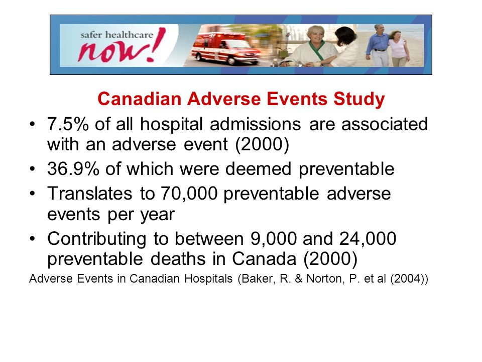 Canadian Adverse Events Study 7.5% of all hospital admissions are associated with an adverse event (2000) 36.9% of which were deemed preventable Trans