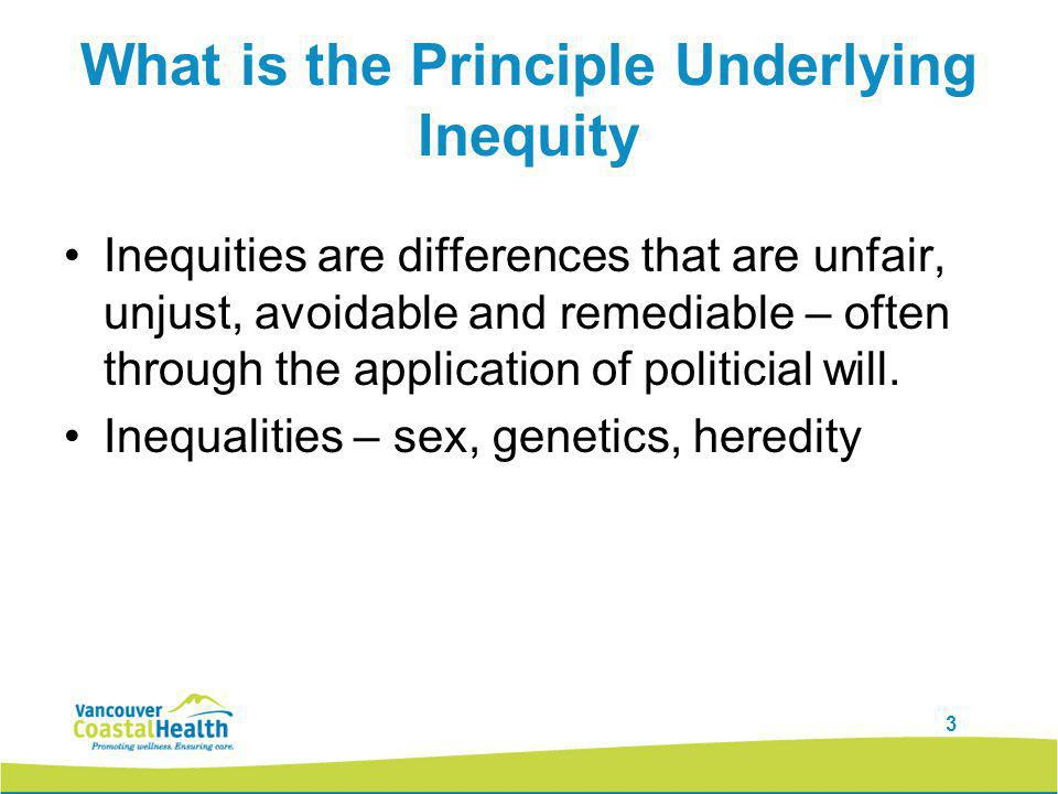3 What is the Principle Underlying Inequity Inequities are differences that are unfair, unjust, avoidable and remediable – often through the application of politicial will.