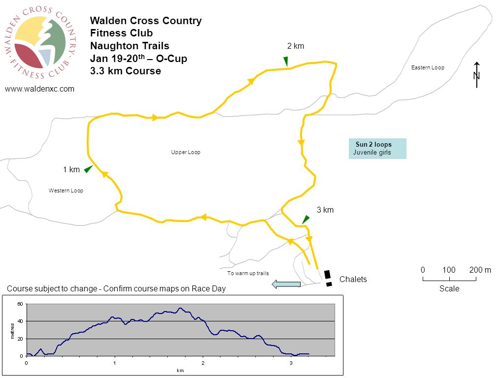 www.waldenxc.com Chalets Scale 0100 200 m 1 km 2 km 3 km Course subject to change - Confirm course maps on Race Day N Eastern Loop Western Loop To warm up trails Walden Cross Country Fitness Club Naughton Trails Jan 19-20 th – O-Cup 3.3 km Course Upper Loop Sun 2 loops Juvenile girls