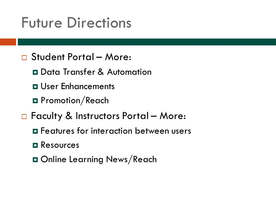 Future Directions  Student Portal – More:  Data Transfer & Automation  User Enhancements  Promotion/Reach  Faculty & Instructors Portal – More:  Features for interaction between users  Resources  Online Learning News/Reach