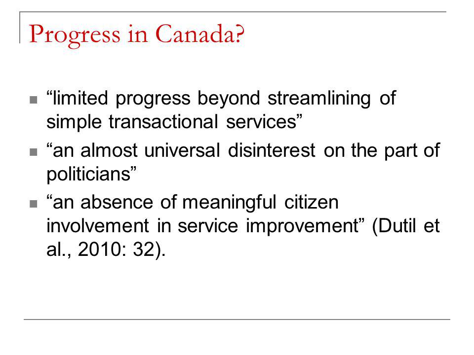 Progress in Canada.