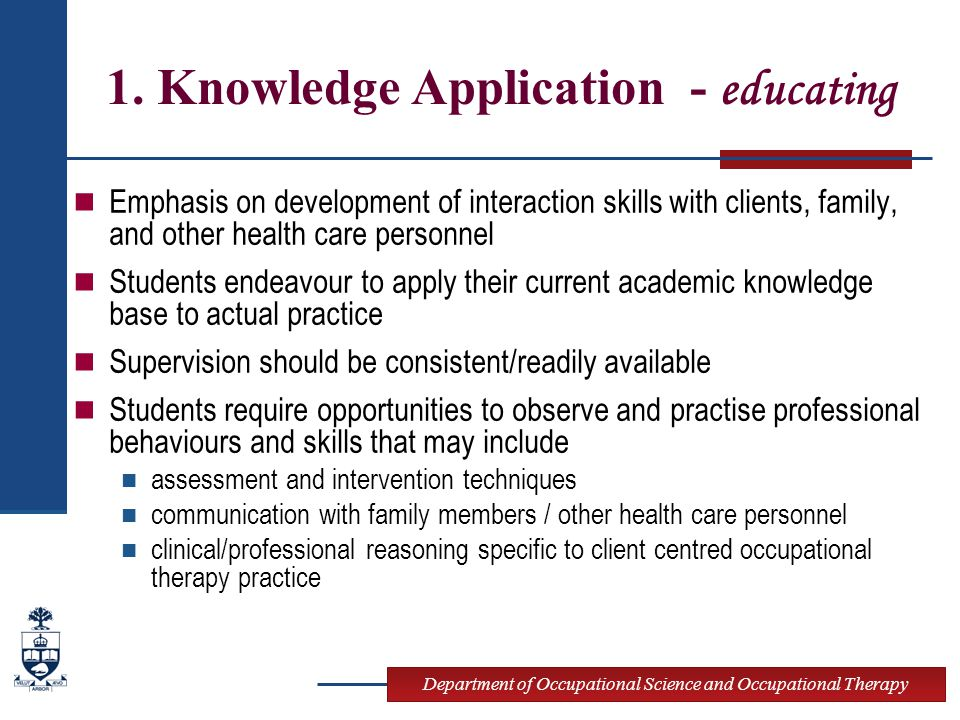 Department of Occupational Science and Occupational Therapy 1. Knowledge Application - educating Emphasis on development of interaction skills with cl