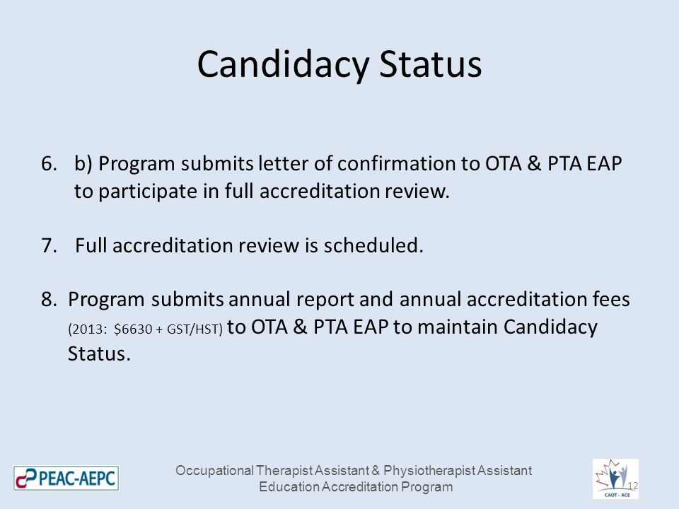 Candidacy Status 6.b) Program submits letter of confirmation to OTA & PTA EAP to participate in full accreditation review.
