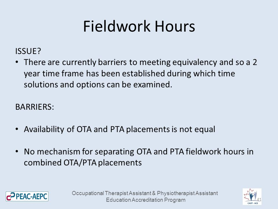 Fieldwork Hours ISSUE? There are currently barriers to meeting equivalency and so a 2 year time frame has been established during which time solutions
