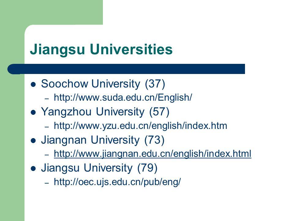 Jiangsu Universities Xi'an Jiaotong-Liverpool University – http://xjtlu.edu.cn Changzhou University (formerly Jiangsu Polytechnic University) – http://www.jpu.edu.cn/eng/menu/index01.htm http://www.jpu.edu.cn/eng/menu/index01.htm Nanjing Arts University – http://www.njarti.cn http://www.njarti.cn Nantong University – http://english.ntu.edu.cn http://english.ntu.edu.cn