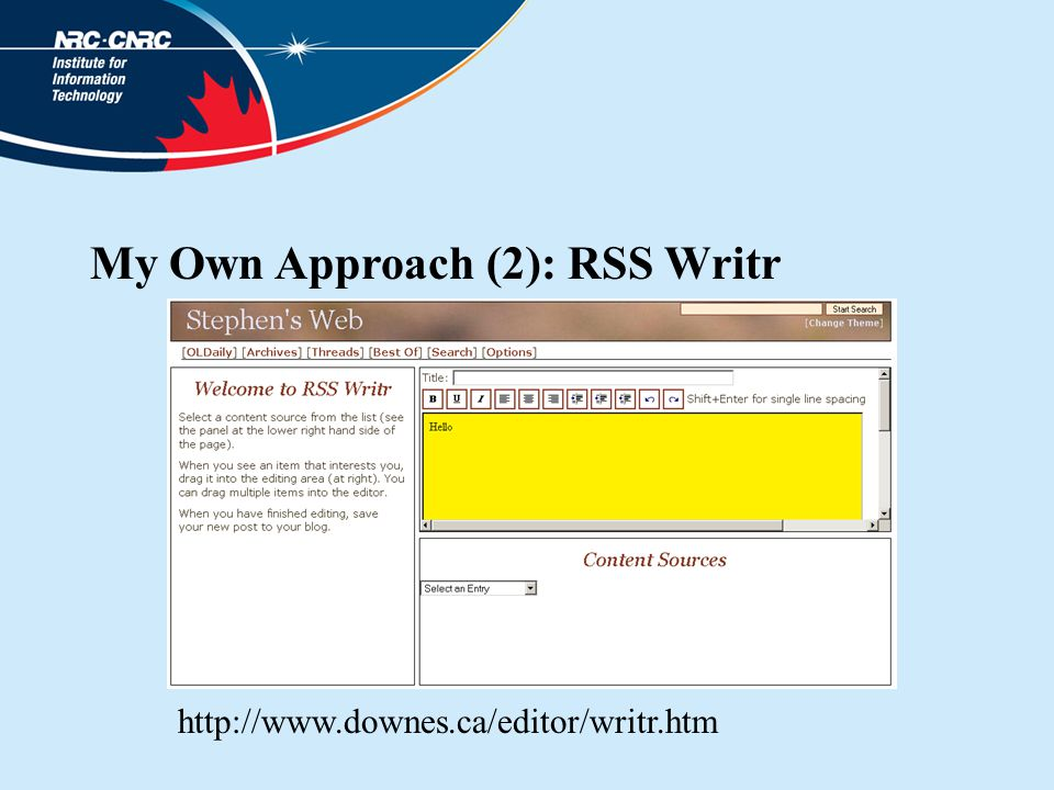 My Own Approach (2): RSS Writr