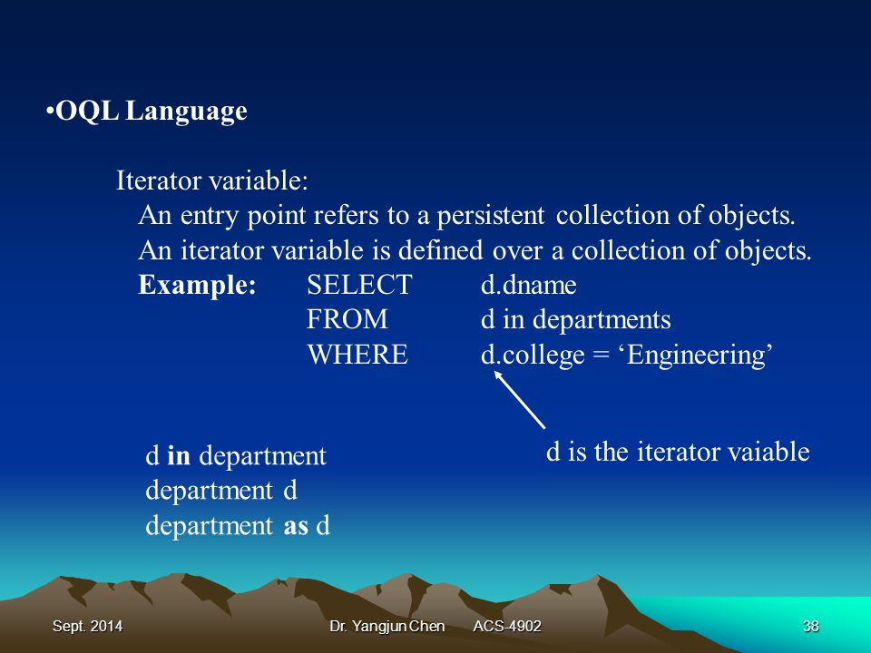 Sept. 2014Dr. Yangjun Chen ACS-490238 OQL Language Iterator variable: An entry point refers to a persistent collection of objects. An iterator variabl