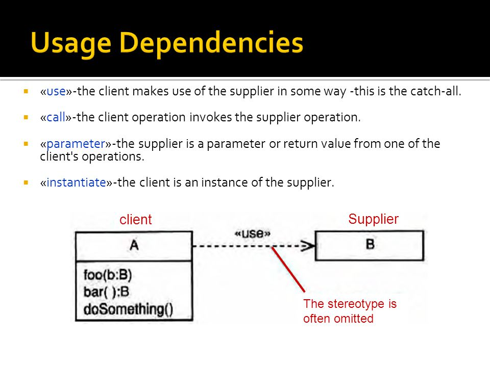  «use»-the client makes use of the supplier in some way -this is the catch-all.