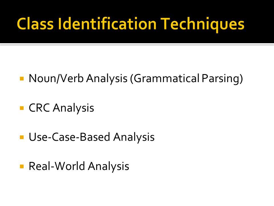  Noun/Verb Analysis (Grammatical Parsing)  CRC Analysis  Use-Case-Based Analysis  Real-World Analysis
