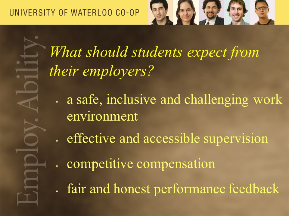 What should students expect from their employers.