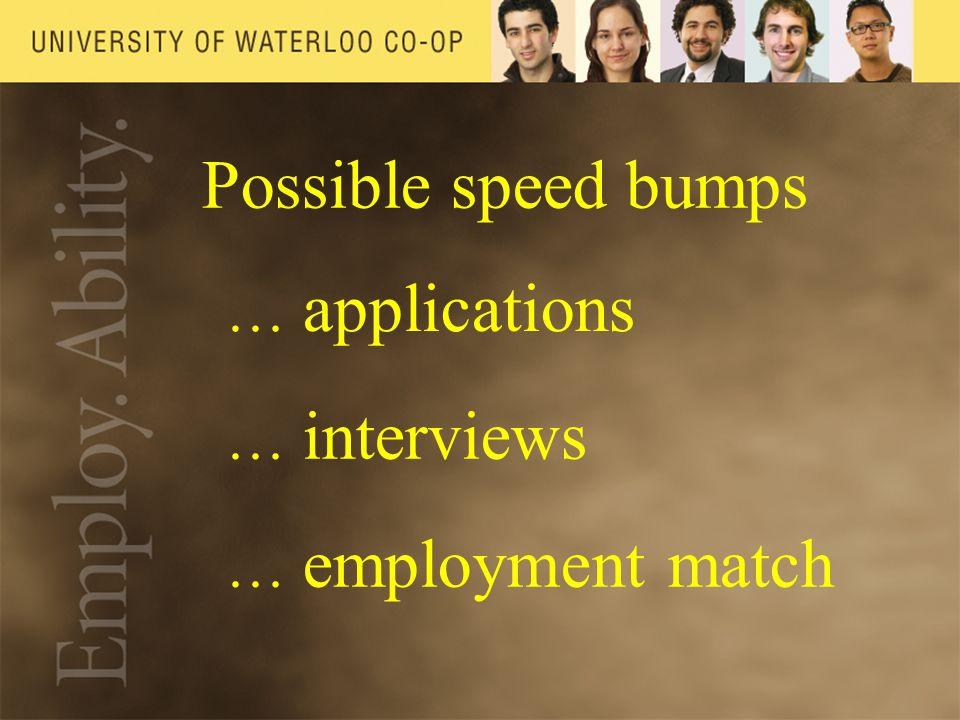 Possible speed bumps … applications … interviews … employment match