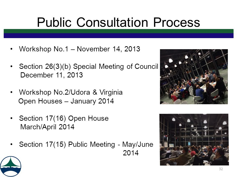 Public Consultation Process Workshop No.1 – November 14, 2013 Section 26(3)(b) Special Meeting of Council December 11, 2013 Workshop No.2/Udora & Virginia Open Houses – January 2014 Section 17(16) Open House March/April 2014 Section 17(15) Public Meeting - May/June 2014 32