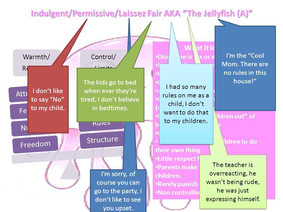 "Indulgent/Permissive/Laissez Fair AKA ""The Jellyfish (A)"" Warmth/ Response Control/ Limits FreedomNurtureFeelingsAttentionStructureRules What it looks"