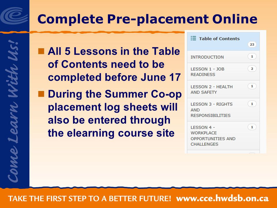 Complete Pre-placement Online All 5 Lessons in the Table of Contents need to be completed before June 17 During the Summer Co-op placement log sheets will also be entered through the elearning course site