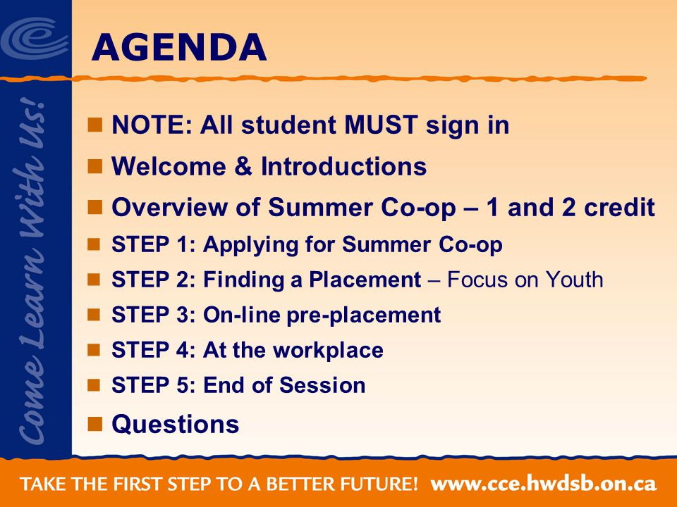 AGENDA NOTE: All student MUST sign in Welcome & Introductions Overview of Summer Co-op – 1 and 2 credit STEP 1: Applying for Summer Co-op STEP 2: Finding a Placement – Focus on Youth STEP 3: On-line pre-placement STEP 4: At the workplace STEP 5: End of Session Questions