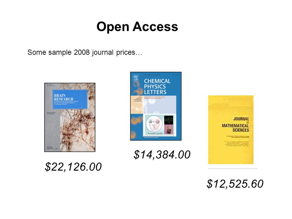 $22, Open Access $14, $12, Some sample 2008 journal prices…